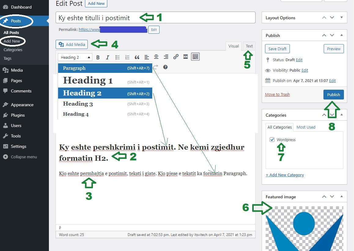 Postimi në WordPress përmes Classic Editor